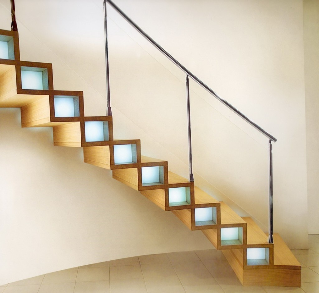 طراحی خلاقانه روشنایی در پله ها